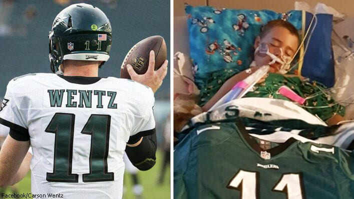 10-Yr-Old Buried in Carson Wentz's #11 Jersey Brings the Eagles Quarterback to Tears